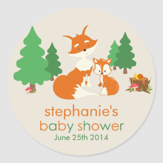 Petit autocollant mignon de baby shower de renard