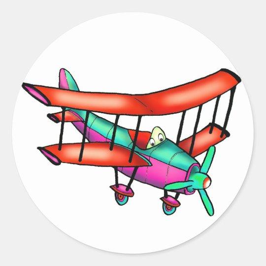 Petit avion sticker rond