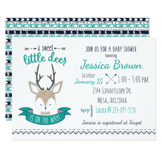 Petit baby shower de cerfs communs carton d'invitation  12,7 cm x 17,78 cm