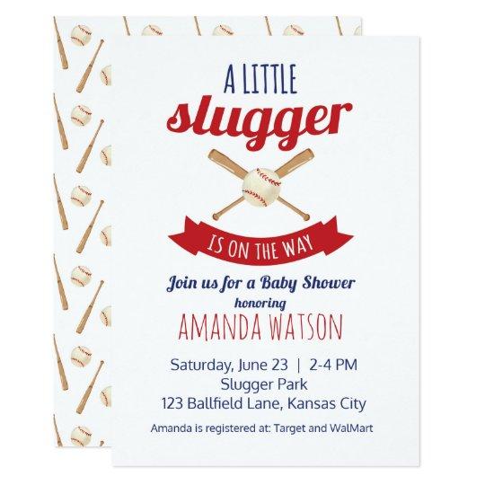 Petit baby shower de cogneur carton d'invitation  12,7 cm x 17,78 cm