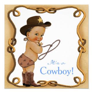 Petit baby shower ethnique de cowboy carton d'invitation  13,33 cm