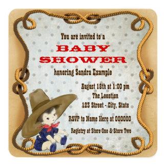 Petit baby shower mignon de cowboy carton d'invitation  13,33 cm