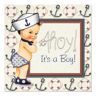 Petit baby shower nautique de garçon de marin carton d'invitation  13,33 cm