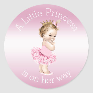 Petit baby shower rose de princesse Ballerina Sticker Rond