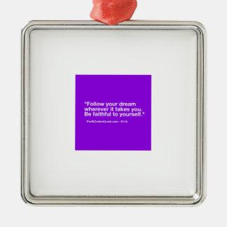 Petit cadeau de l'entrepreneur 119 - suivez le ornement carré argenté