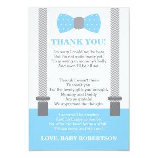 Petit carte de remerciements d'homme, bleu