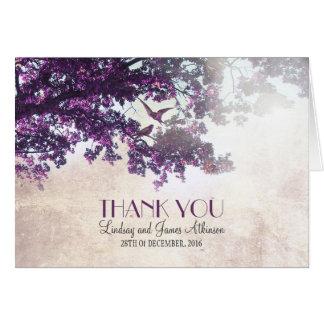 Petit carte de remerciements romantique avec l'arb