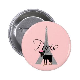 Petit chien à Paris de le Badge Rond 5 Cm