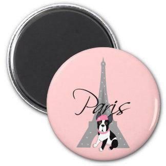 Petit chien à Paris de le Aimants Pour Réfrigérateur