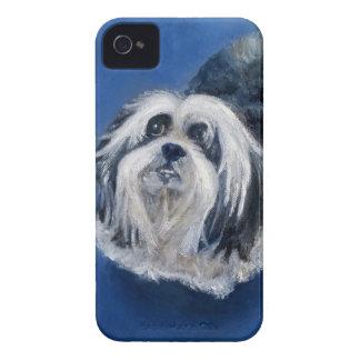 Petit chien espiègle noir et blanc coques iPhone 4