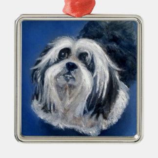 Petit chien espiègle noir et blanc ornement carré argenté
