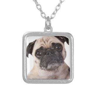 petit chien mignon de carlin pendentif carré
