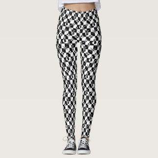 Petit contrôle vintage noir et blanc de disco de leggings