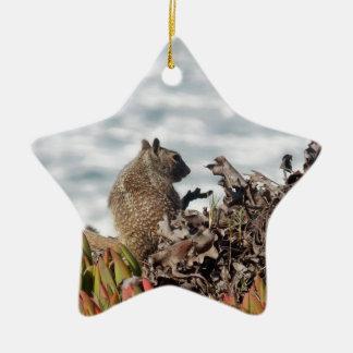 Petit écureuil ornement étoile en céramique