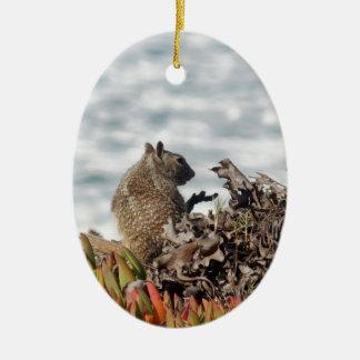 Petit écureuil ornement ovale en céramique