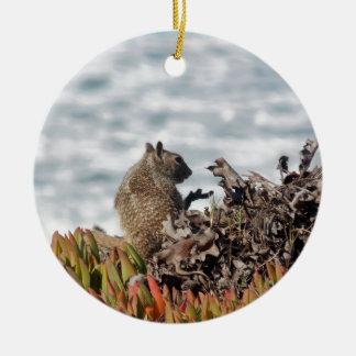 Petit écureuil ornement rond en céramique