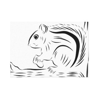 Petit écureuil sur la copie de toile d'arbre