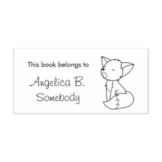 Petit ex-libris somnolent de Fox Tampon Auto-encreur