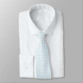 Petit floral abstrait bleu-clair et blanc cravates