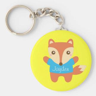 Petit Fox mignon, nom, pour des enfants Porte-clé Rond