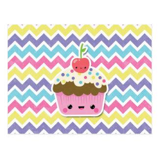 Petit gâteau coloré de Kawaii sur des chevrons Cartes Postales