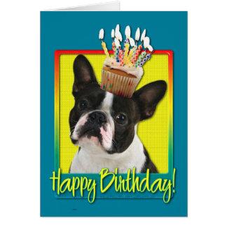 Petit gâteau d'anniversaire - Boston Terrier Carte De Vœux