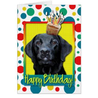 Petit gâteau d'anniversaire - Labrador - noir - Carte De Vœux