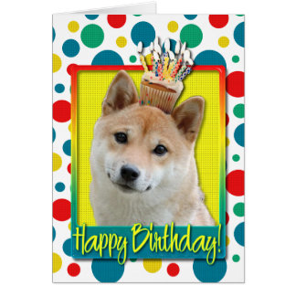 Petit gâteau d'anniversaire - Shiba Inu Carte De Vœux