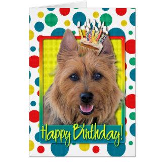 Petit gâteau d'anniversaire - Terrier australien Carte De Vœux