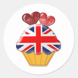 Petit gâteau de drapeau d'Union Jack avec des coeu Autocollants