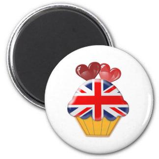 Petit gâteau de drapeau d'Union Jack avec des coeu Magnets