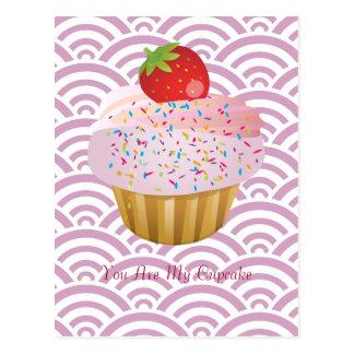 Petit gâteau de fraise cartes postales