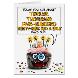 Petit gâteau de joyeux anniversaire - 34 années carte de vœux