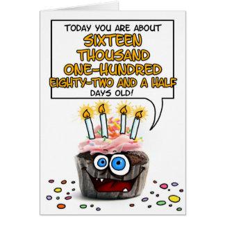 Petit gâteau de joyeux anniversaire - 44 années carte de vœux