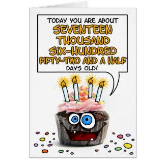 Petit gâteau de joyeux anniversaire - 48 années carte de vœux