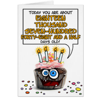 Petit gâteau de joyeux anniversaire - 51 années carte de vœux