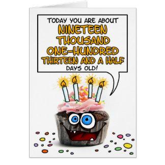 Petit gâteau de joyeux anniversaire - 52 années carte de vœux