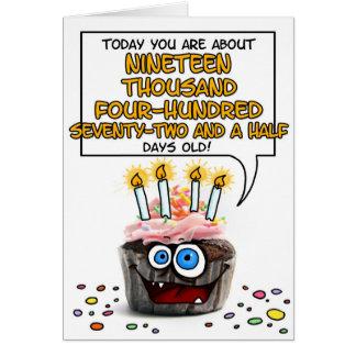 Petit gâteau de joyeux anniversaire - 53 années carte de vœux