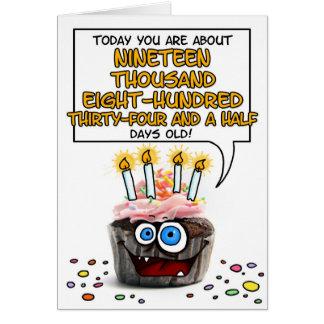 Petit gâteau de joyeux anniversaire - 54 années carte de vœux