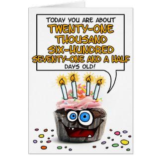 Petit gâteau de joyeux anniversaire - 59 années carte de vœux