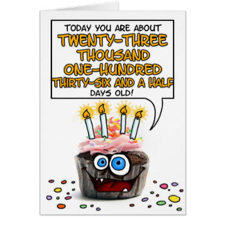 Petit gâteau de joyeux anniversaire - 63 années carte de vœux