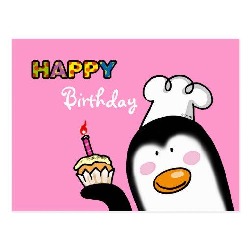 Petit gâteau de pingouin de joyeux anniversaire cartes postales