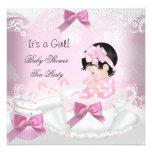 Petit gâteau de tasse de thé de bébé de rose de invitations personnalisées