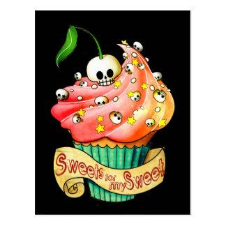 Petit gâteau doux et mortel de crâne cartes postales