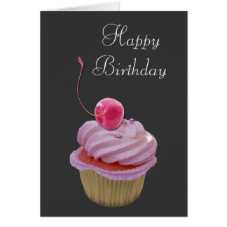 Petit gâteau et cerise roses carte de vœux