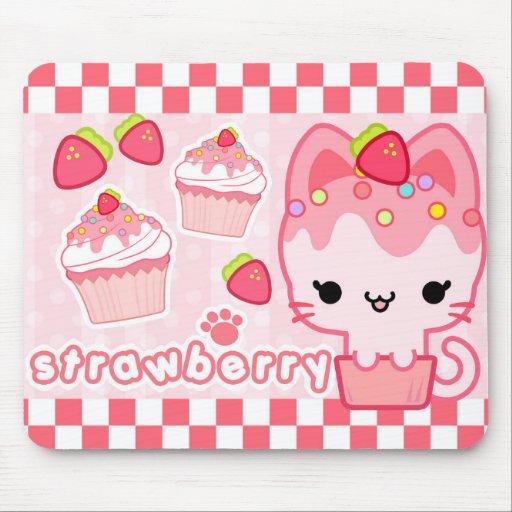 Petit gâteau Kitty Mousepad de fraise Tapis De Souris