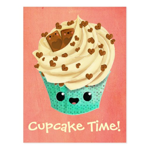 Petit gâteau mignon de chocolat de vanille carte postale
