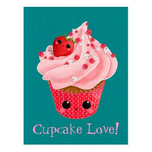 Petit gâteau mignon de fraise cartes postales