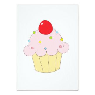 Petit gâteau rose carton d'invitation  12,7 cm x 17,78 cm