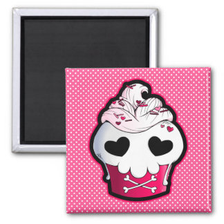 Petit gâteau rose de crâne aimant